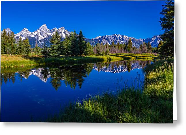 Pines Greeting Cards - Teton Reflection Greeting Card by Chad Dutson