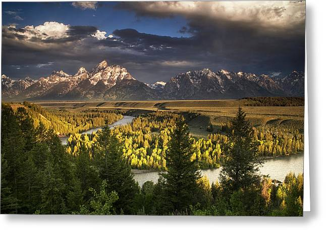 Park Scene Greeting Cards - Teton Shadow Play Greeting Card by Andrew Soundarajan