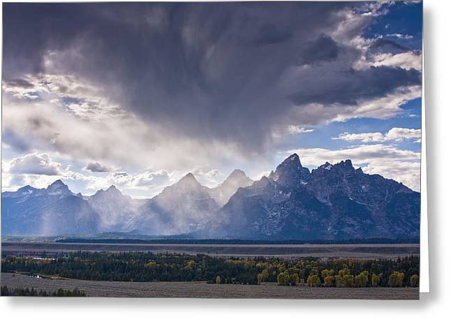 Dark Peak Greeting Cards - Teton Storm Greeting Card by Mark Kiver