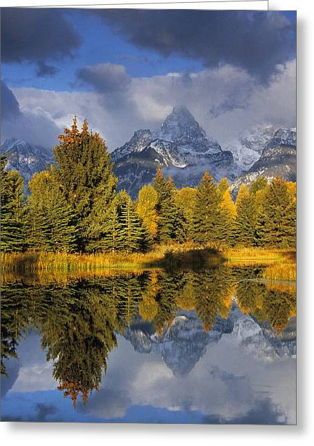 Us National Parks Greeting Cards - Tetons and Pond Greeting Card by Doug Davidson