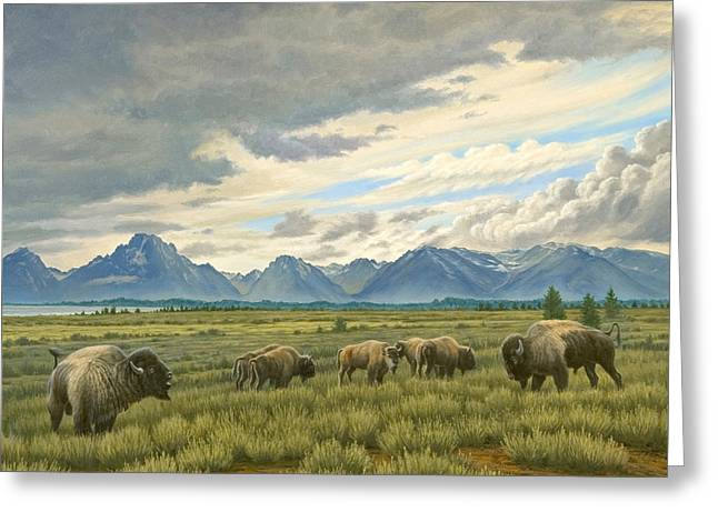 Wyoming Greeting Cards - Tetons-Buffalo  Greeting Card by Paul Krapf