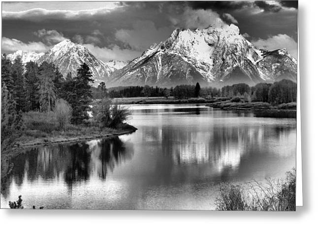 Reflecting Water Greeting Cards - Tetons In Black And White Greeting Card by Dan Sproul