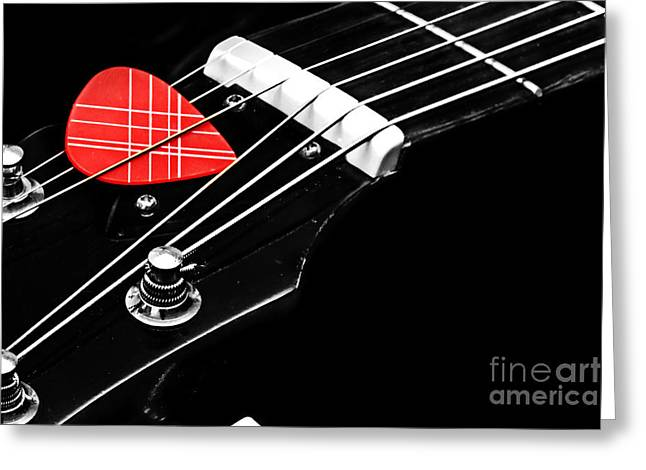 Amplify Greeting Cards - Tetraptych - Head Stock With Red Pick - Panel 2 of 4 - Guitar - Music Greeting Card by Andee Design