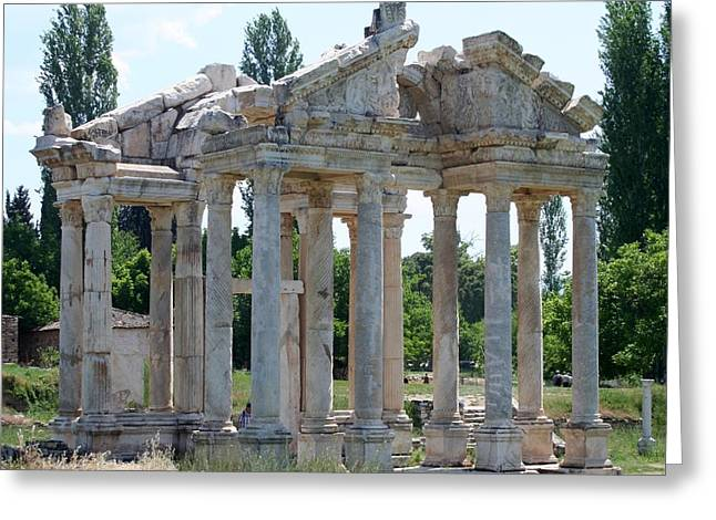 Tetrapylon The Arched Gate Of Aphrodisias Greeting Card by Tracey Harrington-Simpson
