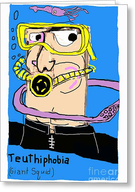 Humorous Greeting Cards Greeting Cards - Teuthiphobia Greeting Card by Joe Jake Pratt