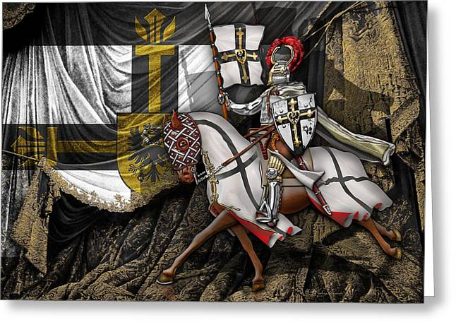 Haus Digital Greeting Cards - Teutonic Knight Rider on Horseback in front of the Teutonic Flag. Greeting Card by Serge Averbukh
