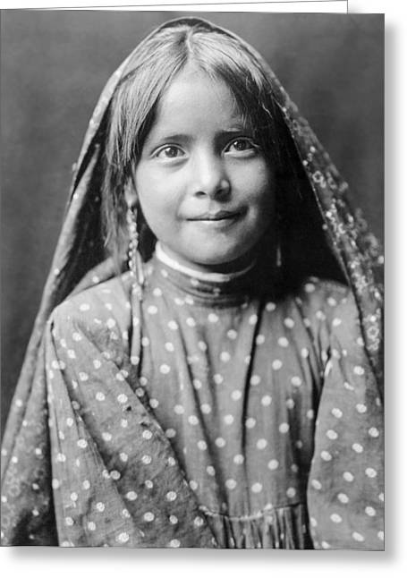 Blanket Photographs Greeting Cards - Tewa girl circa 1905 Greeting Card by Aged Pixel