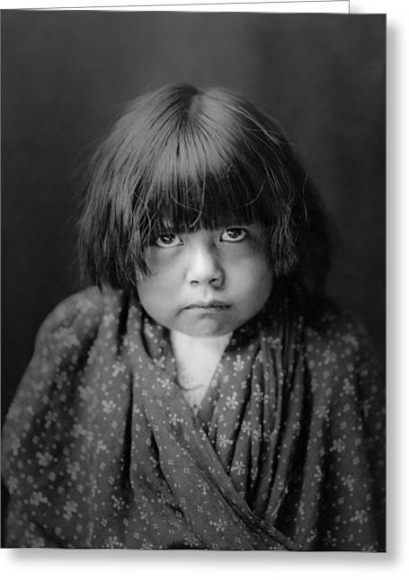 1905 Greeting Cards - Tewa Indian child circa 1905 Greeting Card by Aged Pixel