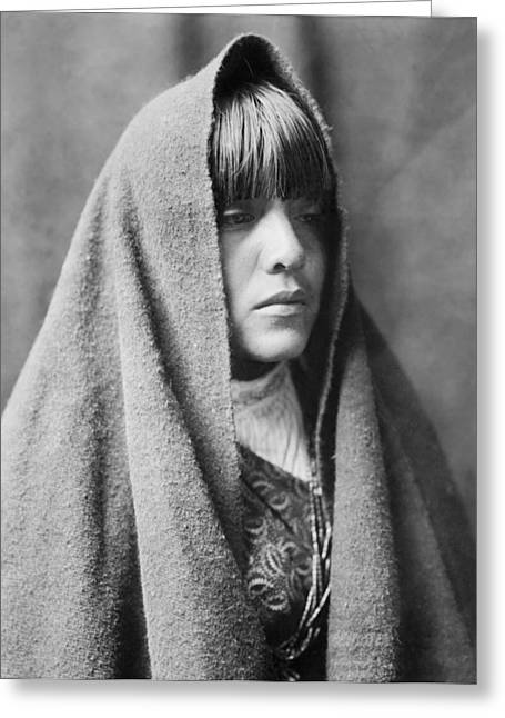 1905 Greeting Cards - Tewa Indian woman circa 1905 Greeting Card by Aged Pixel