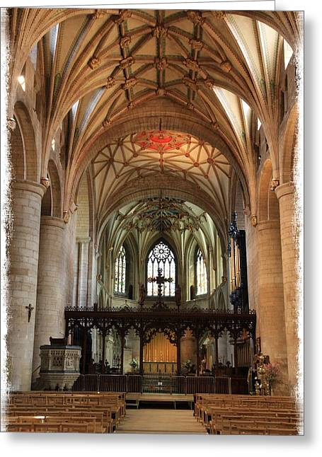 Rose Tower Greeting Cards - Tewkesbury Abbey Greeting Card by Stephen Stookey