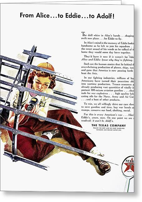 Adversary Greeting Cards - Texaco Advertisement, 1943 Greeting Card by Granger