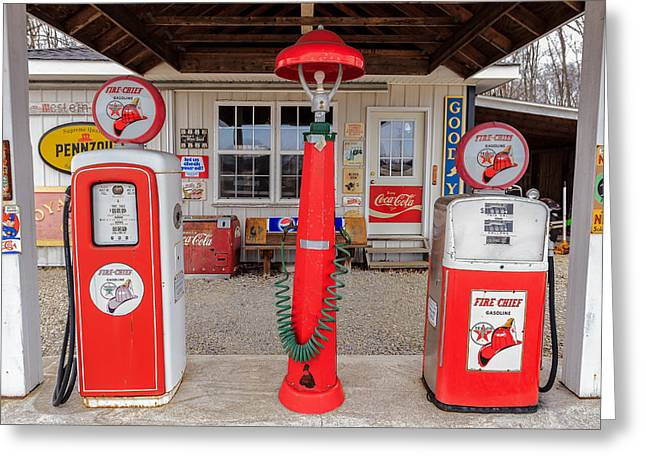 Texaco Sign Greeting Cards - Texaco Firechief Greeting Card by Keith Allen
