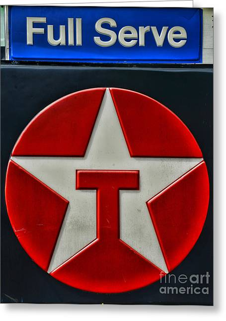 Star Stuff Greeting Cards - Texaco Gas Sign Full Serve Greeting Card by Paul Ward
