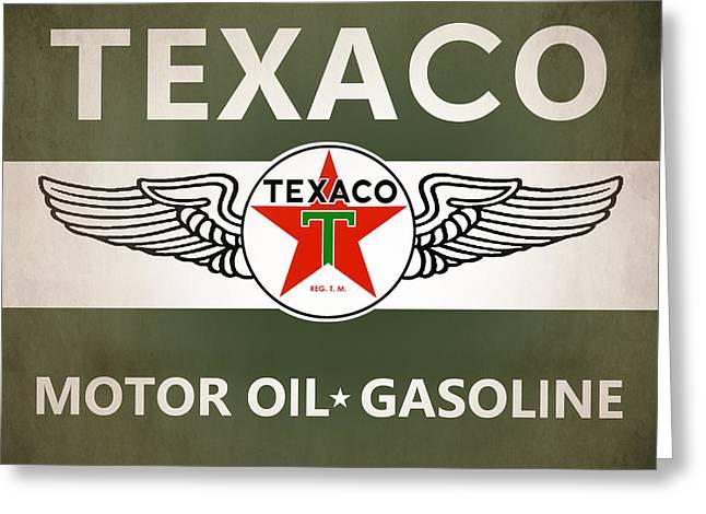 Texaco Sign Greeting Cards - Texaco Greeting Card by Mark Rogan