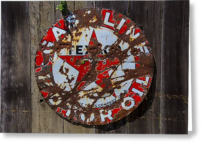 Bullet Holes Greeting Cards - Texaco Sign Greeting Card by Garry Gay