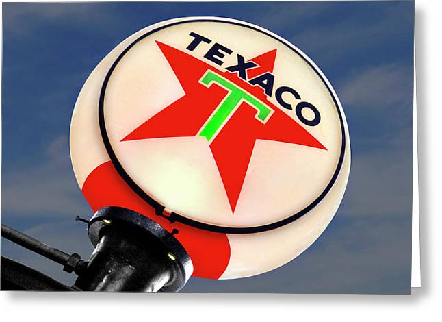 Gas Pumps Greeting Cards - Texaco Star Globe Greeting Card by Mike McGlothlen
