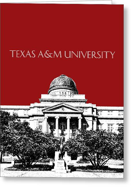 Dark Red Greeting Cards - Texas A and M University - Dark Red Greeting Card by DB Artist