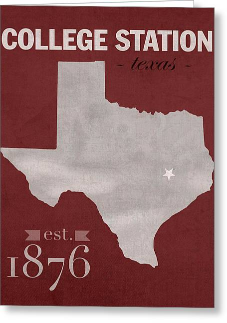 Universities Mixed Media Greeting Cards - Texas A and M University Aggies College Station College Town State Map Poster Series No 106 Greeting Card by Design Turnpike