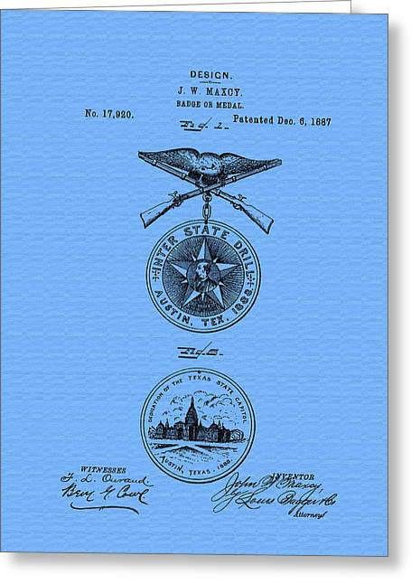 Conferring Greeting Cards - Texas Badge or Medal Patent Greeting Card by Mountain Dreams