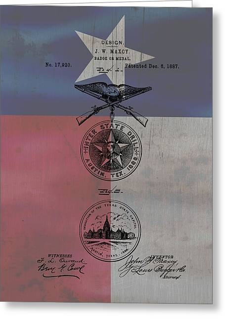 Award Mixed Media Greeting Cards - Texas Badge Patent On Texas Flag Greeting Card by Dan Sproul