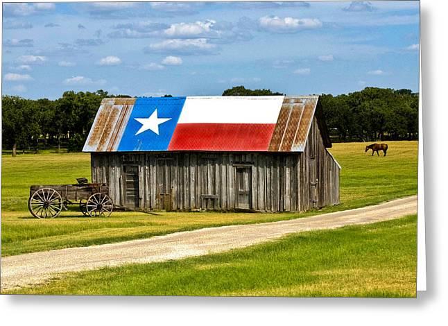 Texas Barn Flag Greeting Card by Gary Grayson