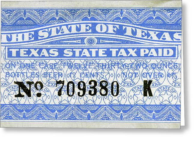 Texas Beer Tax Stamp Greeting Card by Jon Neidert