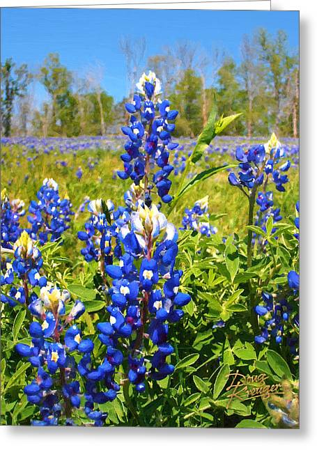 Bluebonnet Landscape Greeting Cards - Texas Bluebonnet Greeting Card by Doug Kreuger