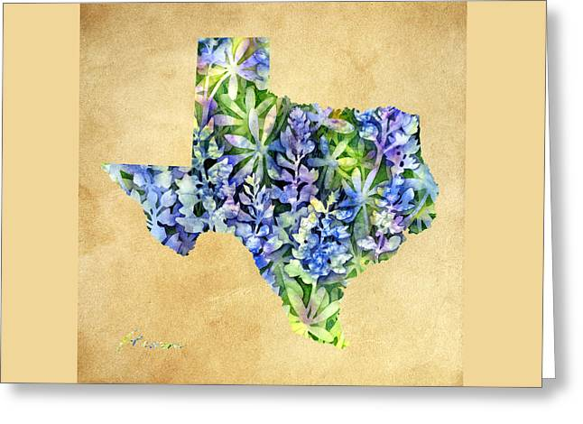 State Flowers Greeting Cards - Texas Blues Texas Map Greeting Card by Hailey E Herrera