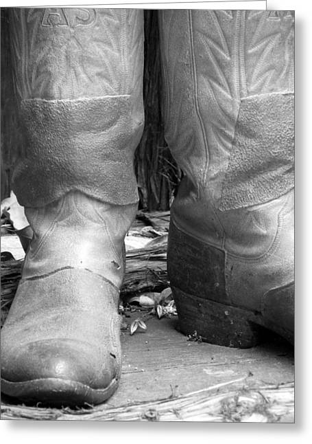 Boots Digital Art Greeting Cards - Texas Boots Portrait - BW 02 Greeting Card by Pamela Critchlow
