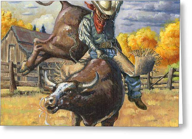 Texas Bull Rider Greeting Card by Jeff Brimley