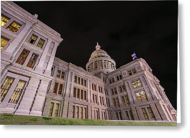 Surreal Landscape Greeting Cards - Texas Capital at night Greeting Card by William Huchton
