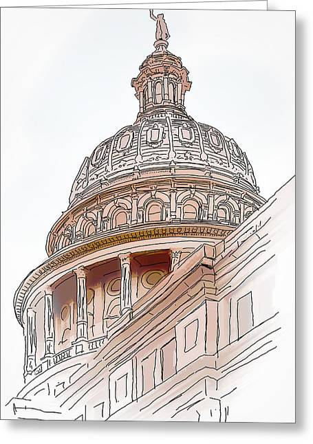 Pen Greeting Cards - Texas Capitol Sketch Greeting Card by David and Carol Kelly