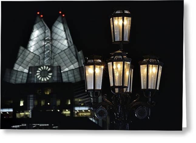 Austin At Night Greeting Cards - Texas Capitol Streetlight and Frost Bank Tower Greeting Card by Steven Ng