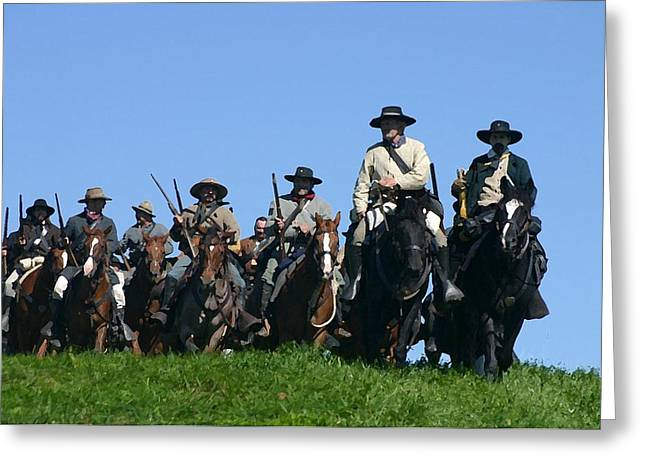 Kentucky Horse Park Digital Art Greeting Cards - Texas Cavalry Regiment Descending - Perryville KY Greeting Card by Thia Stover