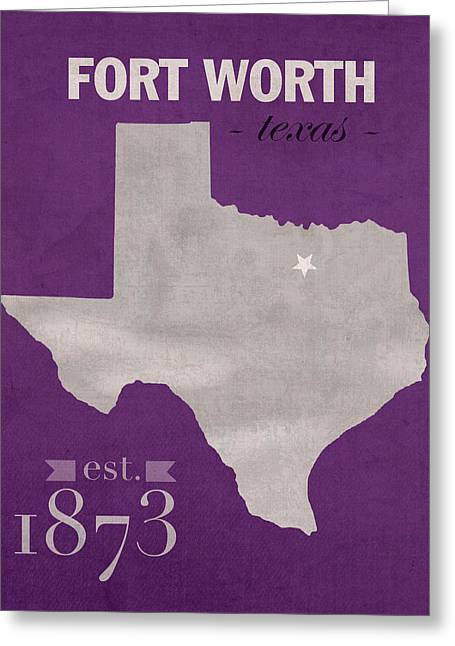Recently Sold -  - Town Mixed Media Greeting Cards - Texas Christian University TCU Horned Frogs Fort Worth College Town State Map Poster Series No 107 Greeting Card by Design Turnpike