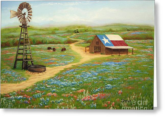 Steer Paintings Greeting Cards - Texas Countryside Greeting Card by Jimmie Bartlett