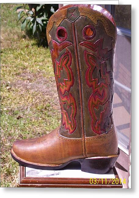 Custom Sculptures Greeting Cards - Texas Custom Boot Greeting Card by Michael Pasko