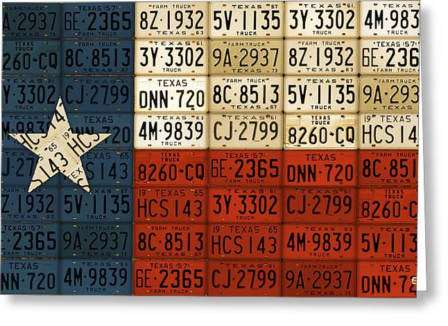 El Greeting Cards - Texas Flag The Lone Star State License Plate Art Greeting Card by Design Turnpike