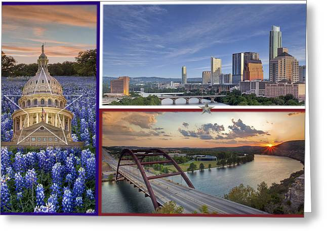 360 Bridge Greeting Cards - Texas Flag with bluebonnets the state capitol the Austin skyline and 360 Bridge Greeting Card by Rob Greebon