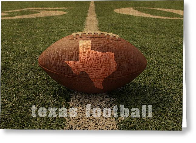 Marks Mixed Media Greeting Cards - Texas Football Art - Leather State Emblem on Marked Field Greeting Card by Design Turnpike