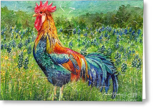 Colorful Rooster Greeting Cards - Texas Glory Greeting Card by Hailey E Herrera