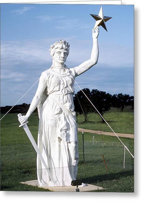 Goddess Of Liberty Greeting Cards - Texas Goddess of Liberty Greeting Card by Jim Smith