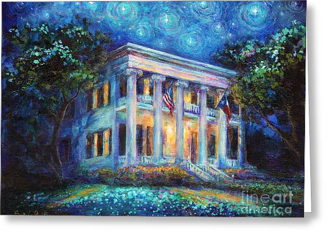 Famous Buildings Greeting Cards - Texas Governor Mansion painting Greeting Card by Svetlana Novikova