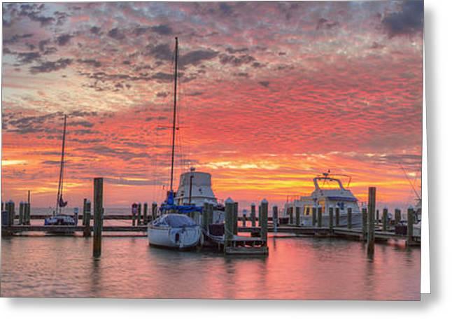 Beach Photos Greeting Cards - Texas Gulf Coast Panorama - Boats at Rockport Harbor 1 Greeting Card by Rob Greebon