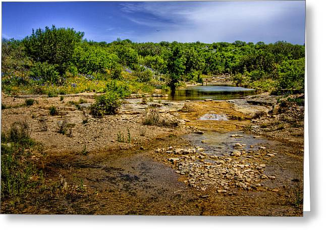 Fed Greeting Cards - Texas Hill Country Stream Greeting Card by David and Carol Kelly