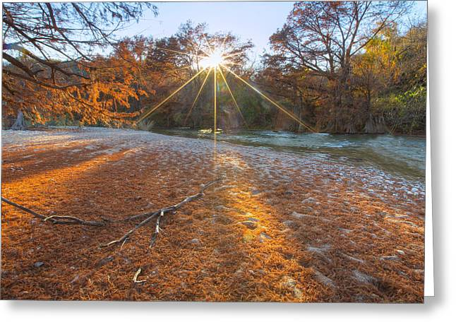 Photos Of Autumn Greeting Cards - Texas Hill Country Images - Pedernales Falls State Park and the  Greeting Card by Rob Greebon