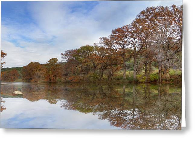 Photos Of Autumn Greeting Cards - Texas Hill Country Images - Pedernales Falls State Park Panorama Greeting Card by Rob Greebon