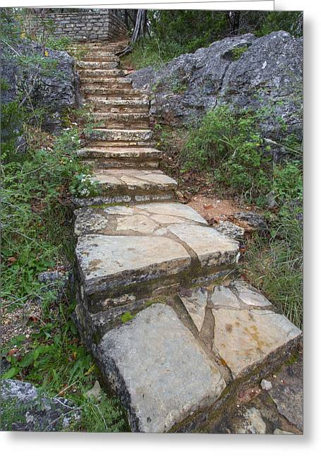 Photos Of Autumn Greeting Cards - Texas Hill Country Images - Stairs at Pedernales Falls State Par Greeting Card by Rob Greebon