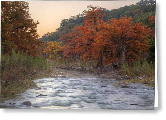 Photos Of Autumn Greeting Cards - Texas Hill Country Images - The Pedernales River in Autumn Moonr Greeting Card by Rob Greebon