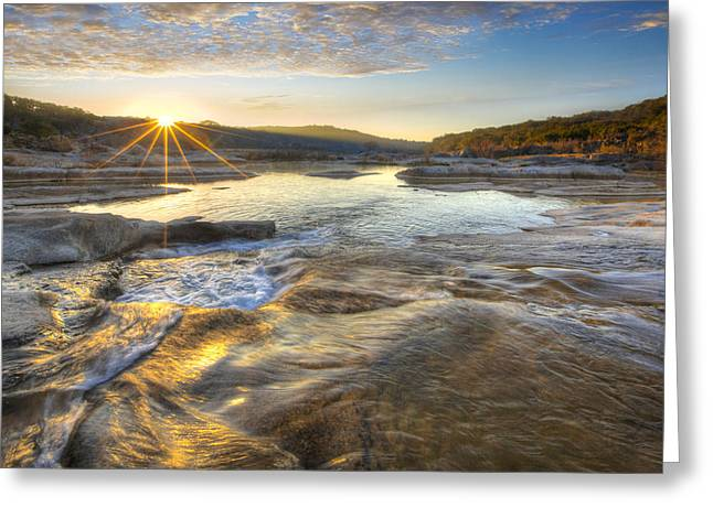 Country Pictures Greeting Cards - Texas Hill Country Images - Pedernales Falls March 1st Sunrise Greeting Card by Rob Greebon